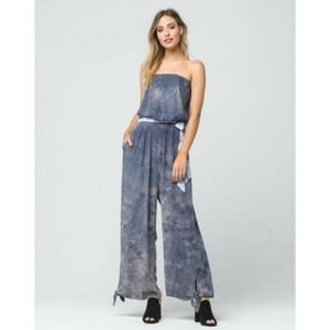 Free People Just Float Belted Strapless Jumpsuit